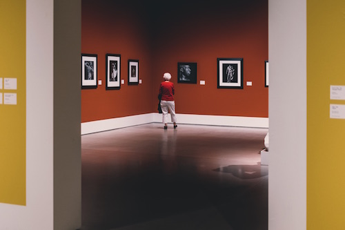 Woman in photography museum