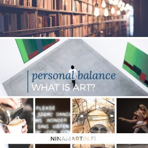 Collage of different forms of the arts: bookshop, museum of contemporary arts, coffee art, typography lighting, street art of bear, ballet dancer couple.
