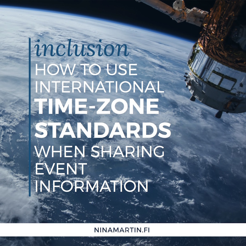 Inclusion: How to use international time-zone standards when sharing event information